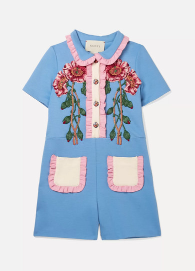 Ages 4   12 Ruffle Trimmed Appliquéd Jersey Romper by Gucci Kids