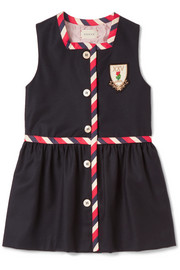 Ages 4 - 12 grosgrain-trimmed wool and cashmere-blend dress