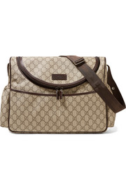 Leather-trimmed printed coated-canvas diaper bag