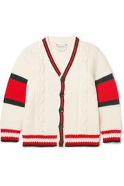Ages 4 - 12 striped cable-knit wool cardigan