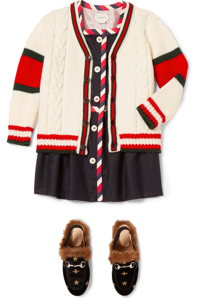 65074635cd1 Gucci Kids | Ages 4 - 12 striped cable-knit wool cardigan | NET-A ...