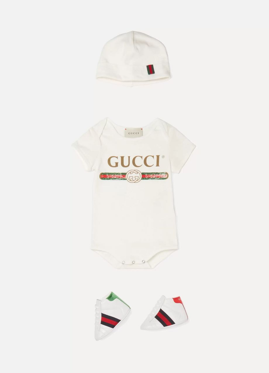 Gucci Kids Size 16 - 19 Ace logo-print leather high-top sneakers