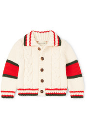 Months 0 - 36 striped cable-knit wool cardigan