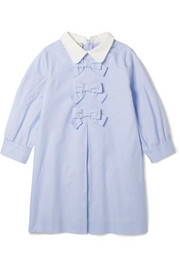 Ages 4 - 12 bow-embellished cotton Oxford shirt dress
