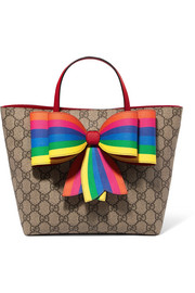 Bow-embellished printed coated-canvas tote