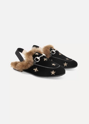 Size 27 - 33 Princetown faux fur-lined embroidered velvet slippers