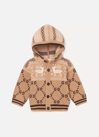 5836b061 Gucci Kids | Months 6 - 36 hooded intarsia wool cardigan | NET-A ...