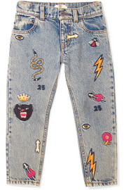 Ages 4 - 12 embroidered denim jeans