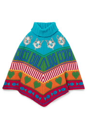 Ages 4 - 12 wool-jacquard poncho
