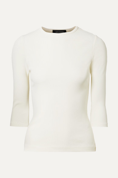 GOLDSIGN The Rib Stretch Cotton-Blend Top in Ivory