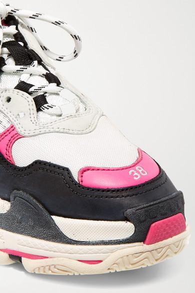 Balenciaga | Triple S Sneakers aus Leder, Logostickerei Nubukleder und Mesh mit Logostickerei Leder, 073772