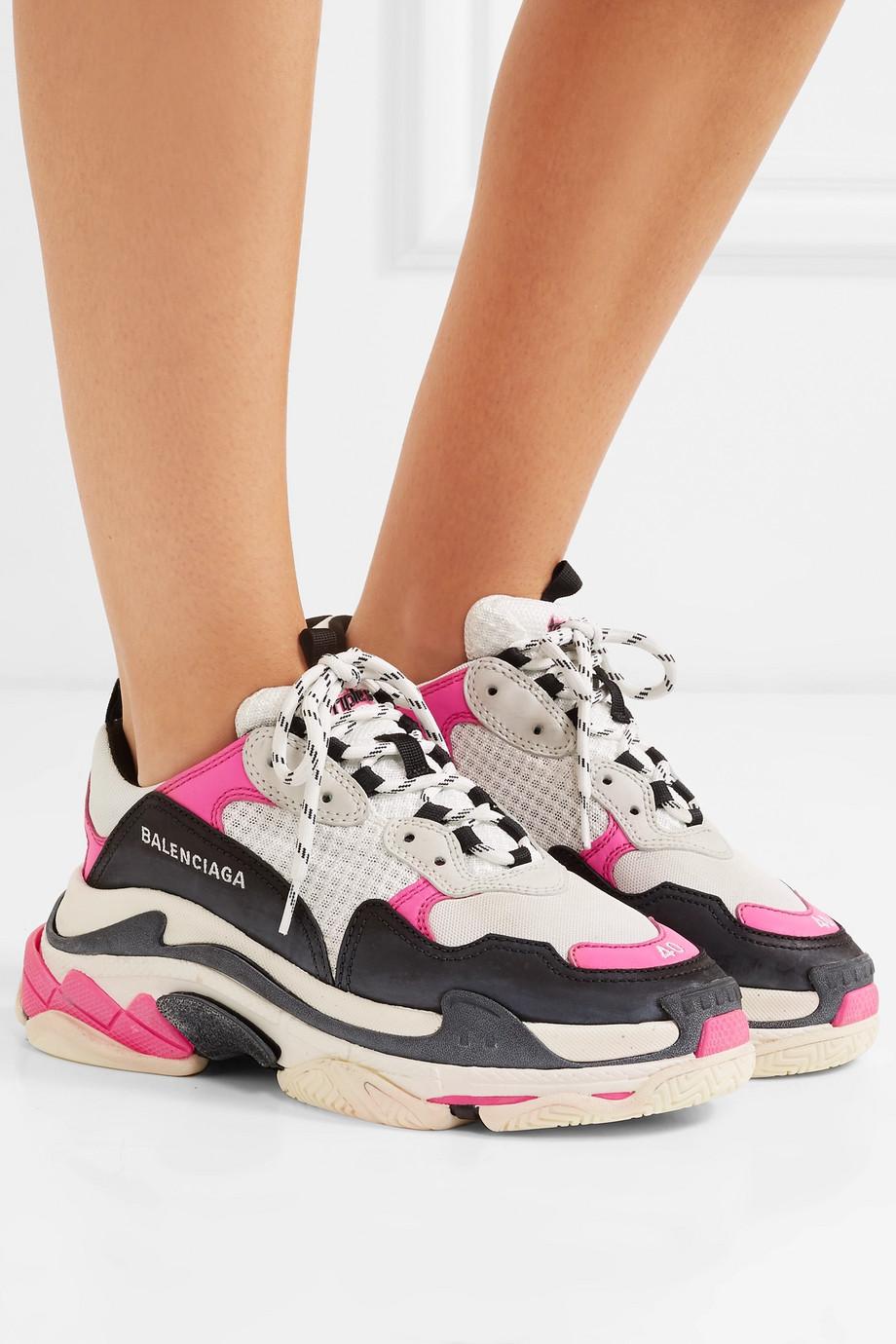Balenciaga Triple S 品牌标志刺绣皮革牛巴革网眼运动鞋