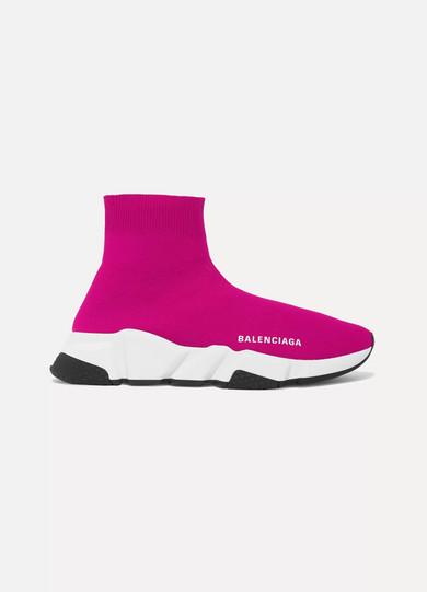 BALENCIAGA | Balenciaga - Speed Stretch-knit High-top Sneakers - Fuchsia | Goxip