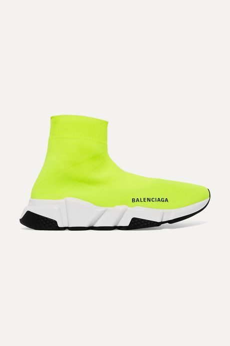 Bright yellow Speed neon logo-print stretch-knit high-top sneakers | Balenciaga D7WMHb