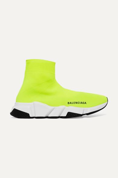 BALENCIAGA | Balenciaga - Speed Neon Logo-print Stretch-knit High-top Sneakers - Yellow | Goxip