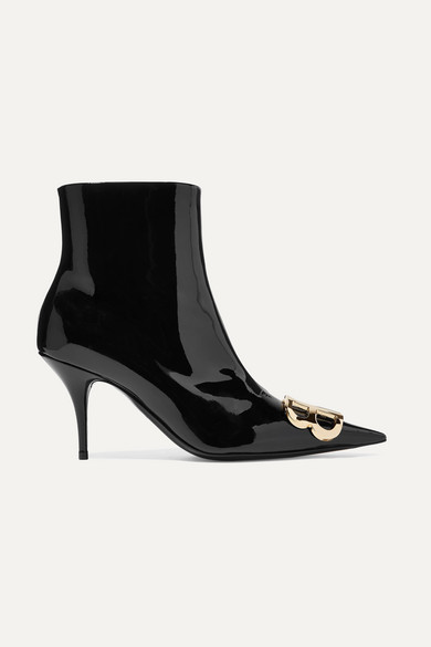 Knife Logo-Embellished Patent-Leather Ankle Boots in 1000 Black