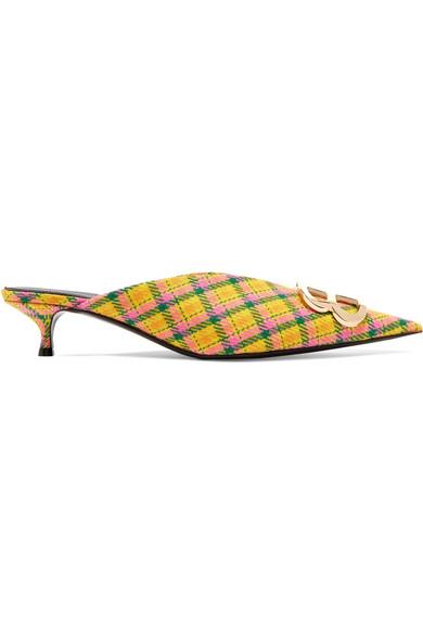 Balenciaga | Wolle Knife Mules aus karierter Wolle | mit Logoverzierung 17bed2