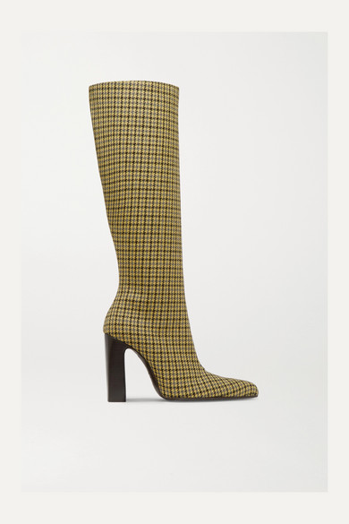 Houndstooth Wool-Tweed Knee Boots, Yellow