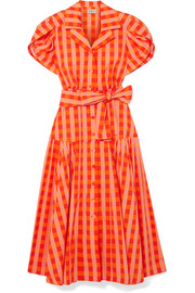 Château gingham stretch-cotton broadcloth midi dress