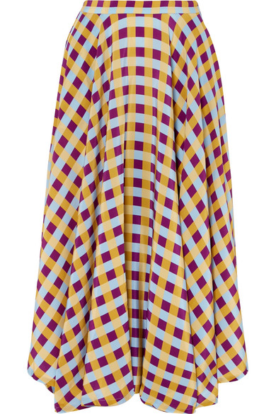 French Riviera Gingham Silk Crepe De Chine Midi Skirt by Lhd