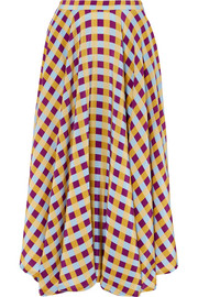 French Riviera gingham silk crepe de chine midi skirt