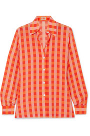 Star Island gingham silk crepe de chine shirt