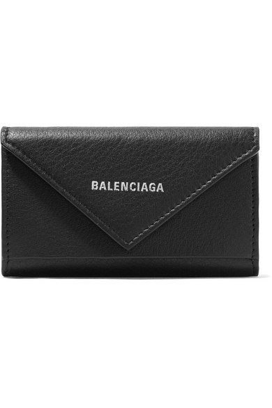 BALENCIAGA Paper printed textured-leather key case
