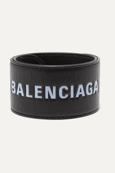 Cycle Printed Textured-Leather Bracelet in Black