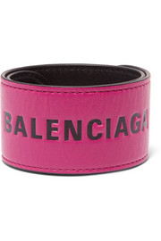 Balenciaga Cycle printed textured-leather bracelet