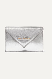 Paper mini printed metallic textured-leather wallet