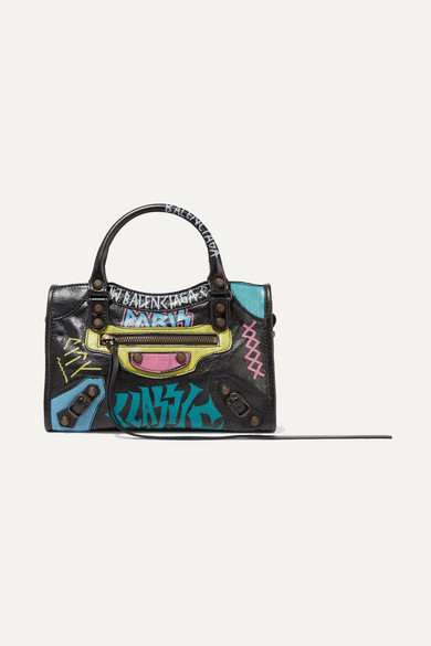 Classic City mini printed textured-leather tote