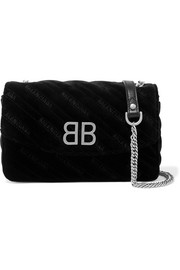 Balenciaga BB Chain embroidered quilted velvet shoulder bag