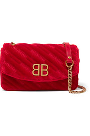 Balenciaga BB Round embroidered quilted velvet shoulder bag