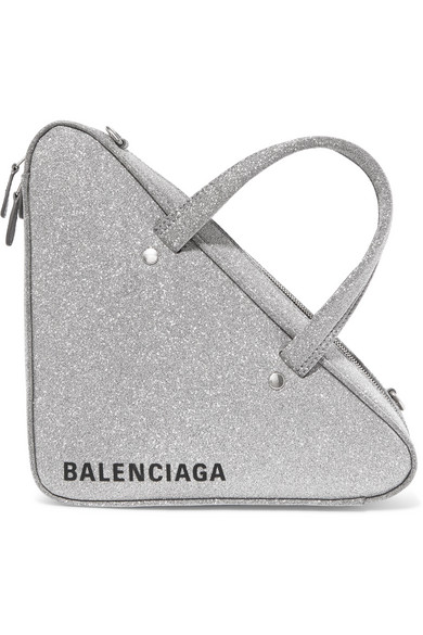 Triangle Duffle Xs Glittered Leather Tote in Silver