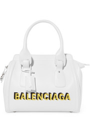 Balenciaga Monday Bowling S printed textured-leather tote