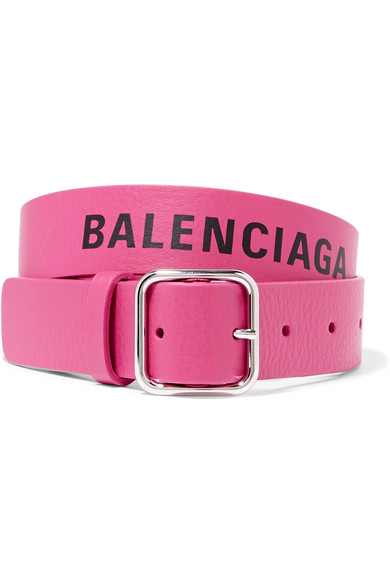 Everyday Printed Textured-Leather Waist Belt in Pink