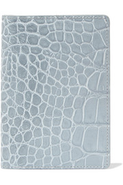 Croc-effect leather passport cover