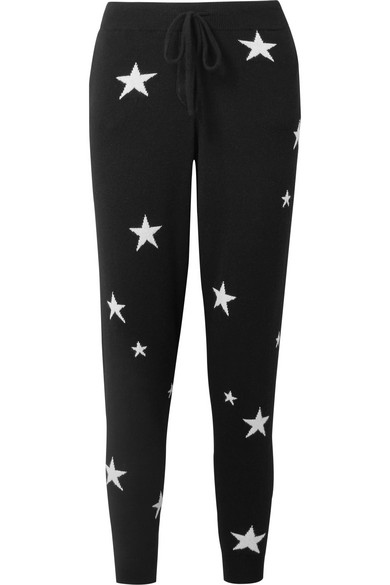 CHINTI & PARKER Star-Intarsia Cashmere Track Pants in Black