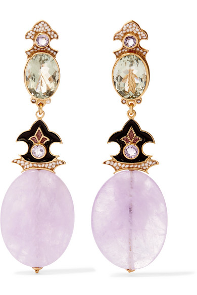 PERCOSSI PAPI Gold-Plated And Enamel Multi-Stone Clip Earrings in Pink