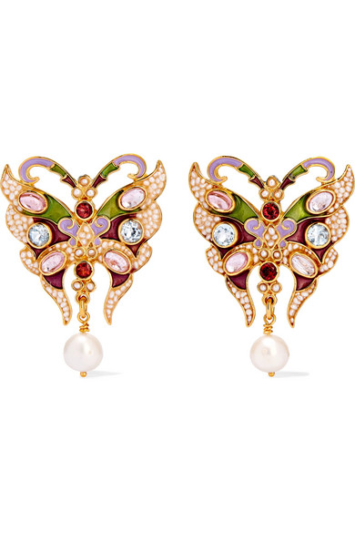 PERCOSSI PAPI Gold-Plated And Enamel Multi-Stone Earrings in Pink