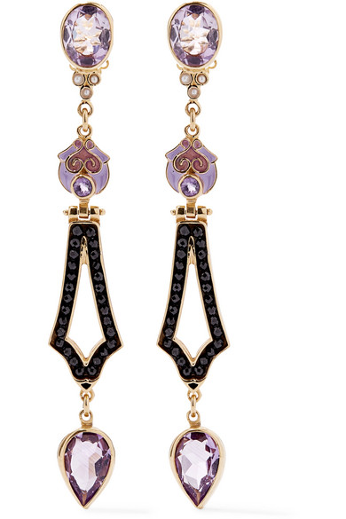 PERCOSSI PAPI Gold-Plated And Enamel Multi-Stone Earrings in Purple