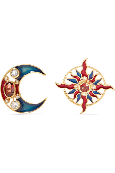 PERCOSSI PAPI Gold-Plated And Enamel Multi-Stone Earrings in Red