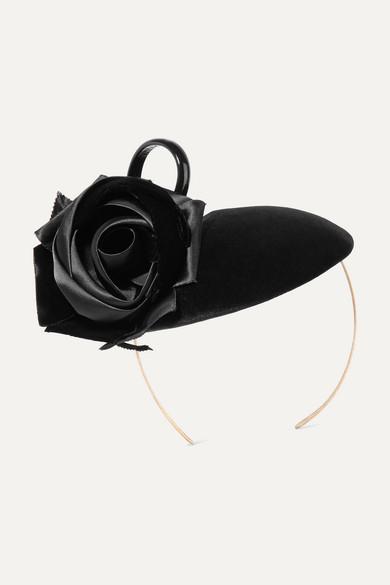 Philip Treacy - Rosette And Bow-embellished Velvet Headpiece - Black