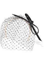 Crystal-embellished mesh, patent and buntal straw headpiece