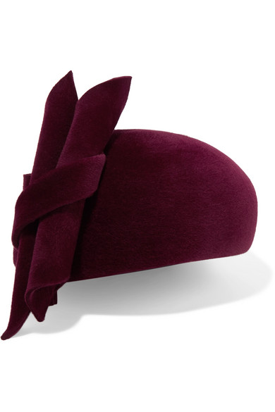 PHILIP TREACY Knotted Velour Beret in Burgundy