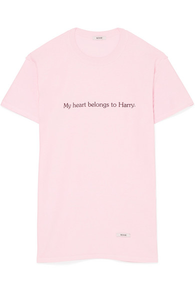 BLOUSE - My Heart Belongs To Harry Printed Cotton-jersey T-shirt - Pink