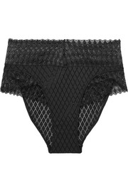 Lunna stretch-lace and point d'esprit briefs
