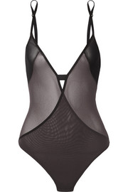 Jersey-trimmed mesh-paneled bodysuit