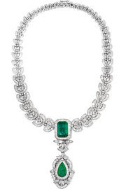 18-karat white gold, sterling silver, diamond and emerald necklace