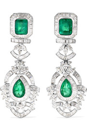18-karat white gold, sterling silver, diamond and emerald earrings